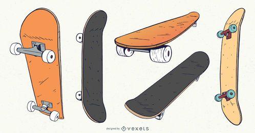 Paquete de diseño de ángulos de skateboard