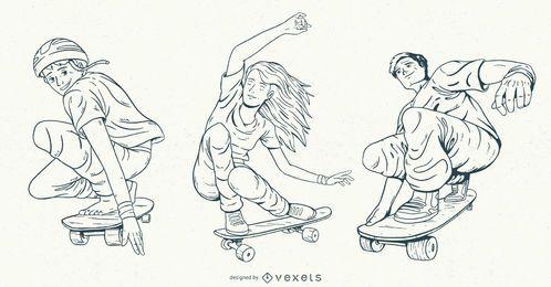 Conjunto de caracteres de skatistas desenhados à mão