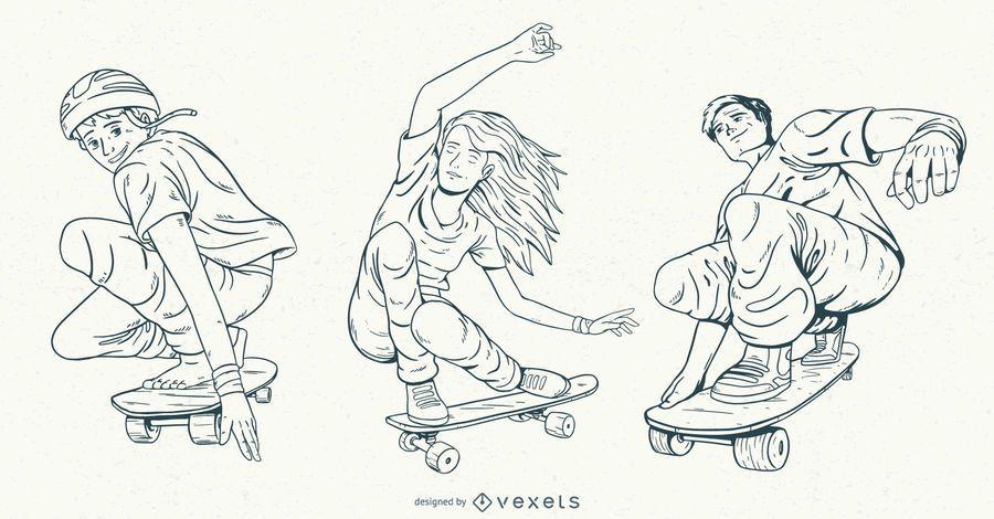 Hand drawn skaters character set