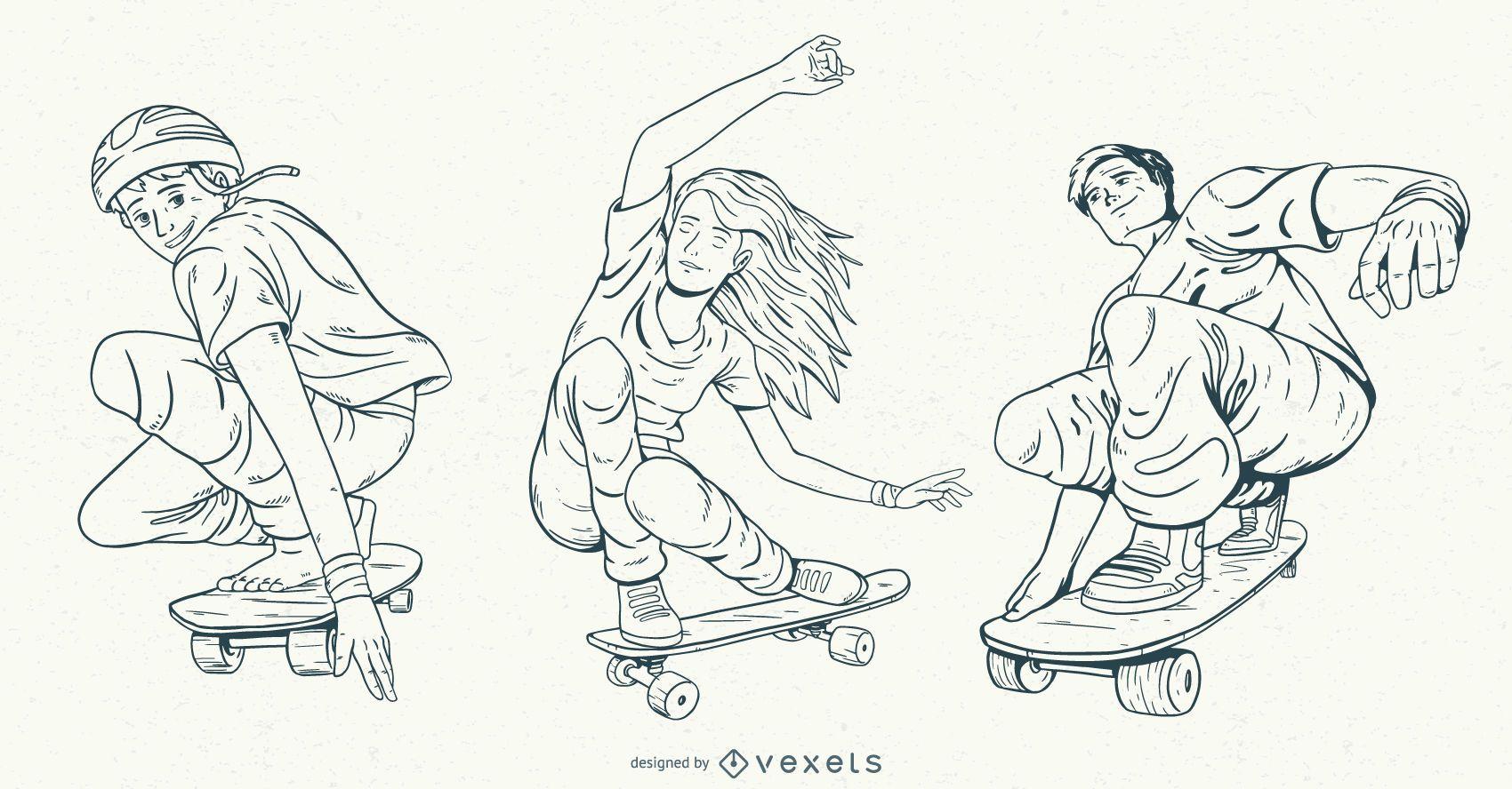 Conjunto de personajes de patinadores dibujados a mano