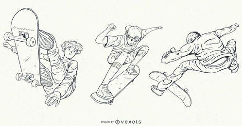 Conjunto de patinação de personagens desenhados à mão