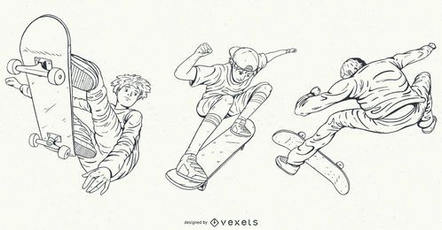 Hand drawn characters skating set
