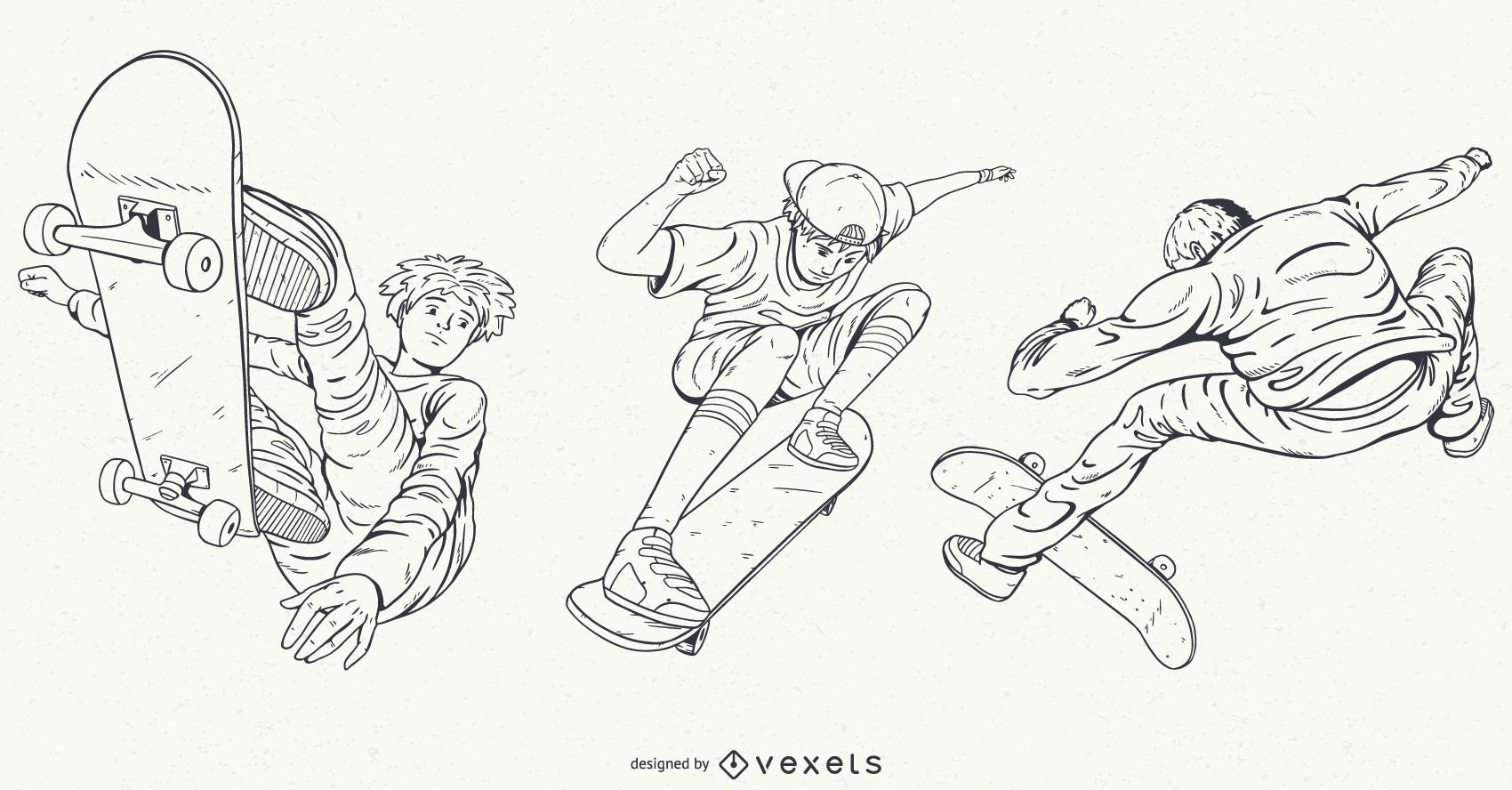 Hand drawn characters skating set