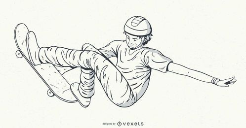Desenho de personagens de skatista desenhado à mão