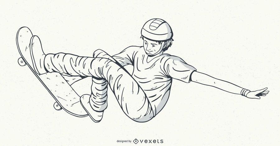 Hand drawn skater character design