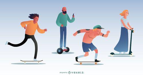 Pack de personajes de patinaje