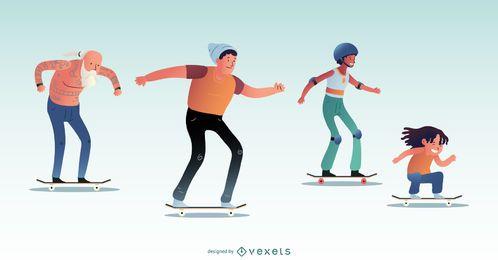 Conjunto de personagens de skate
