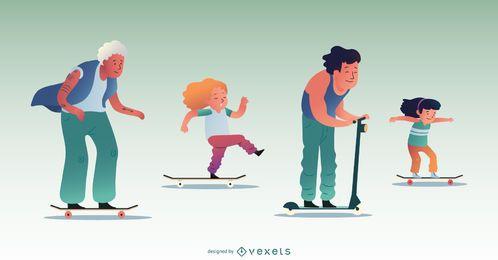Conjunto de caracteres de gente patinadora