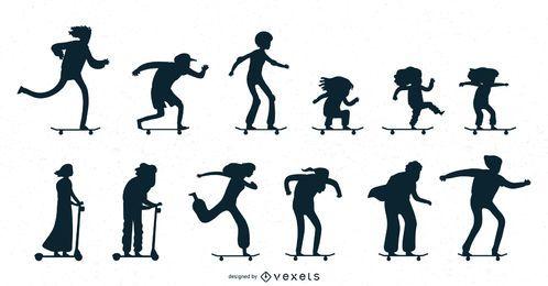 Coleção de silhuetas de patinação