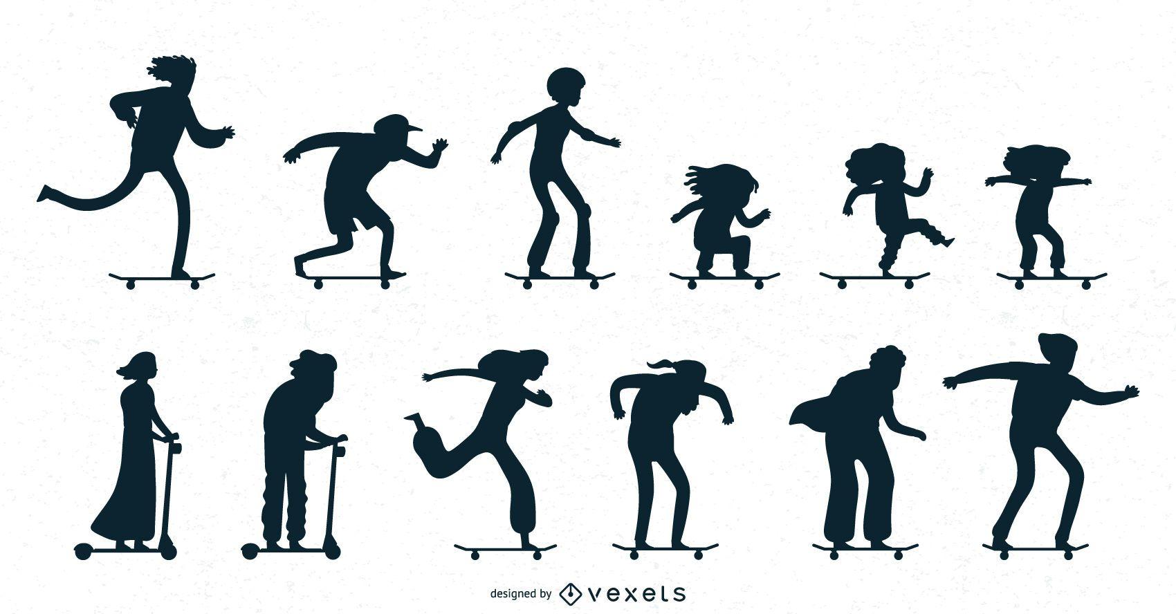 Colección de siluetas de patinaje