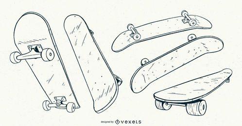 Skateboard handgezeichnetes Set