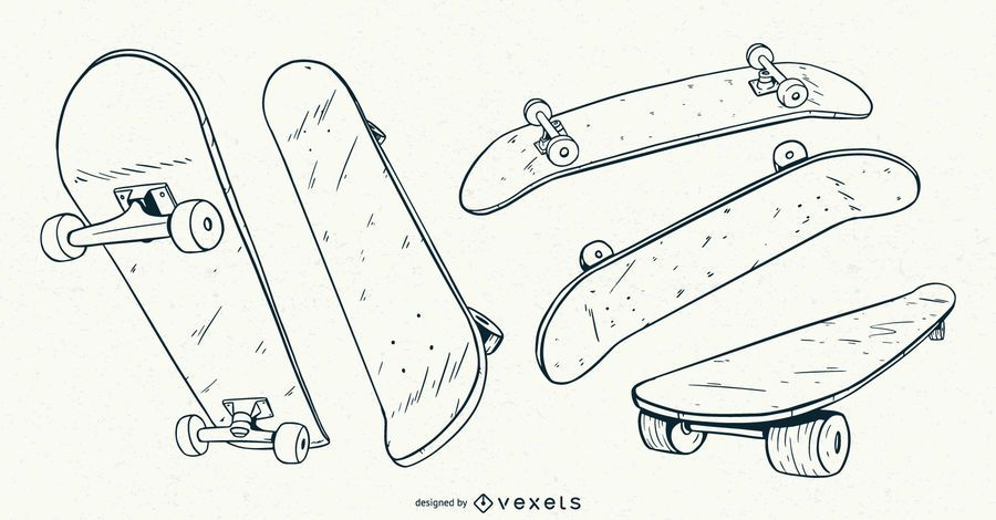 Skateboard hand drawn set