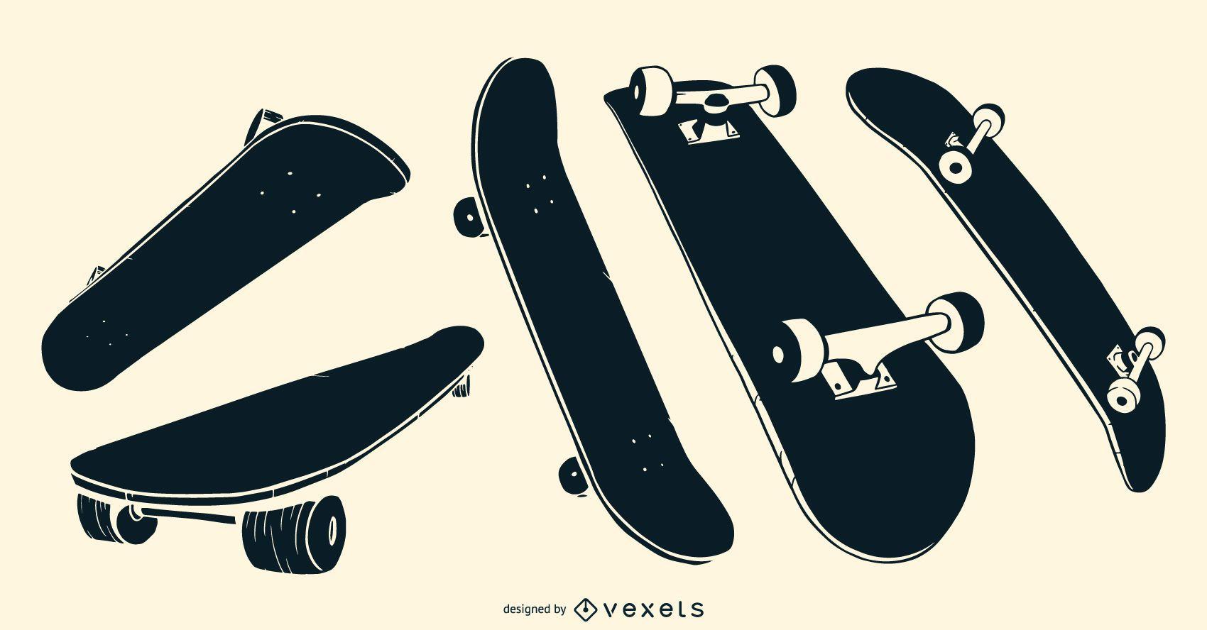 Skateboards black set