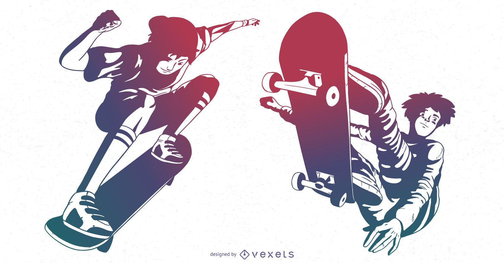Conjunto de degradado de personajes skater