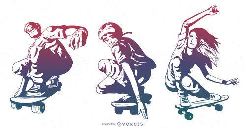 Skateboarding characters gradient set