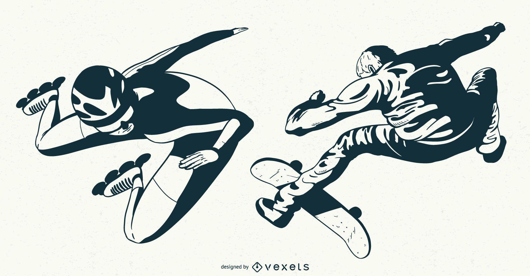 Conjunto de caracteres de patinaje