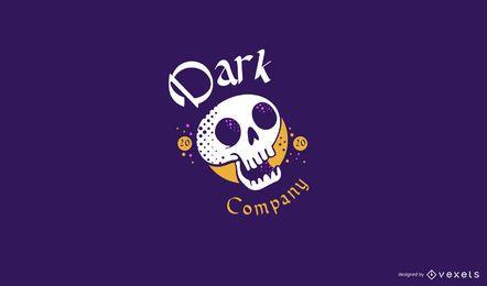 Plantilla de logotipo de calavera oscura