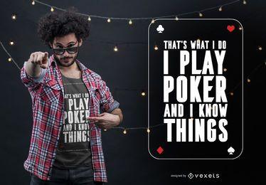 Diseño de camiseta de juego de póquer