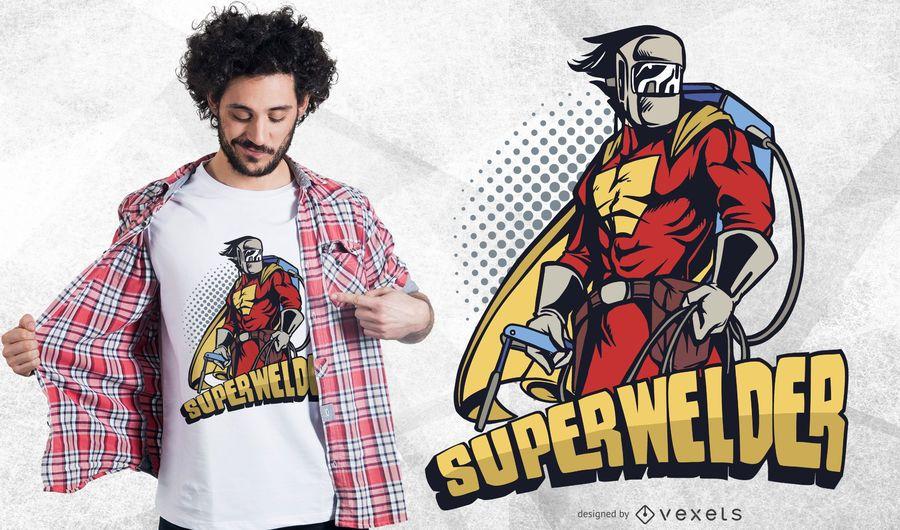 Superwelder lustiger T-Shirt Entwurf