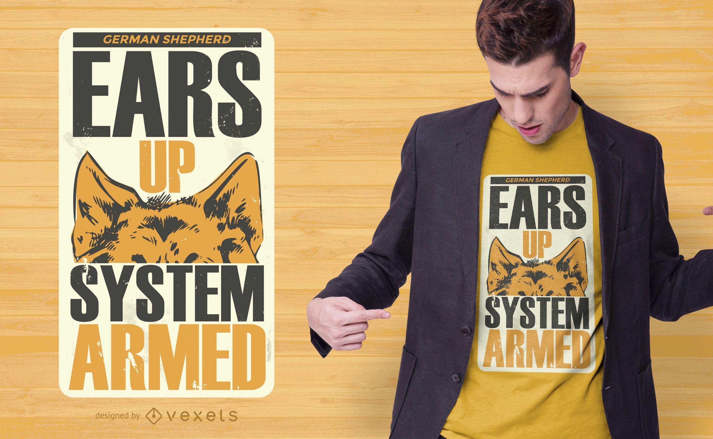 Ohren bis Hund T-Shirt Design