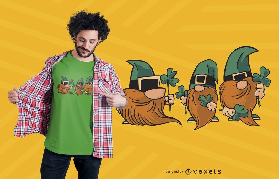 Diseño de camiseta de tréboles gnomos
