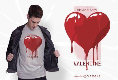 Design de t-shirt dos namorados coração sangrento