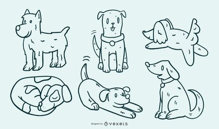 Conjunto de ilustração de cachorro bonito dos desenhos animados