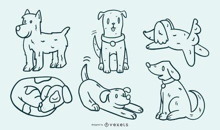 Netter Hundekarikatur-Illustrations-Satz