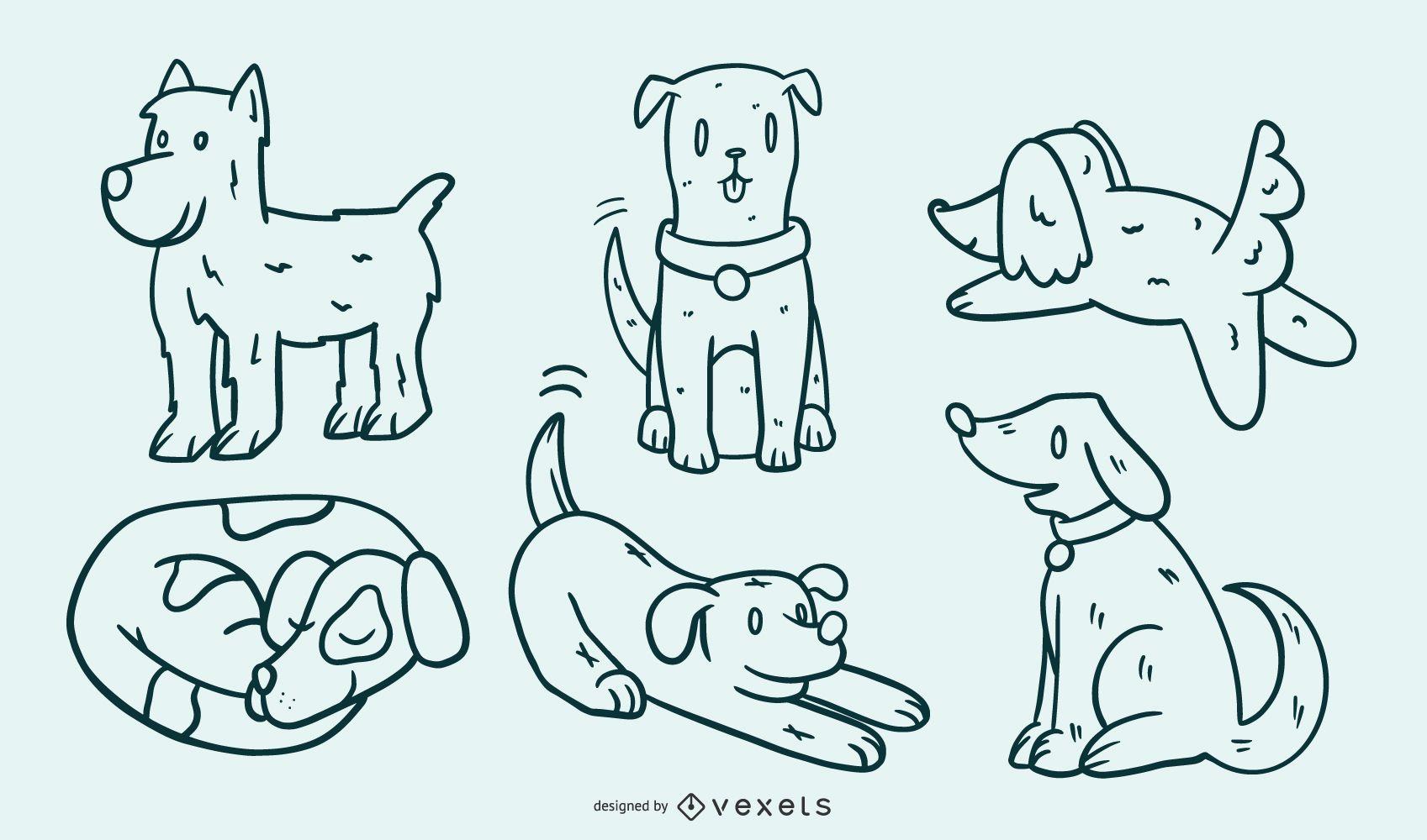 Cute Dog Cartoon Illustration Set