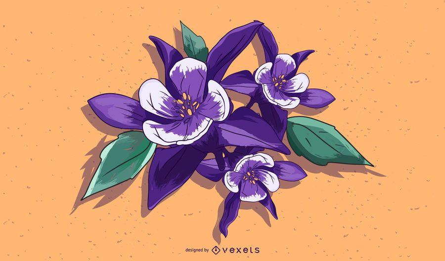 Aquilegia Flower Illustration Design