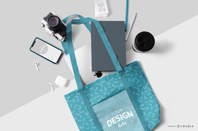 Tote bag stationery mockup