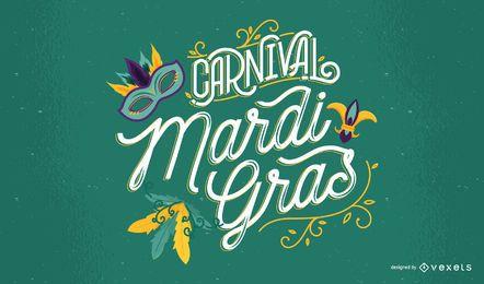 Mardi Gras Carnival Lettering Design