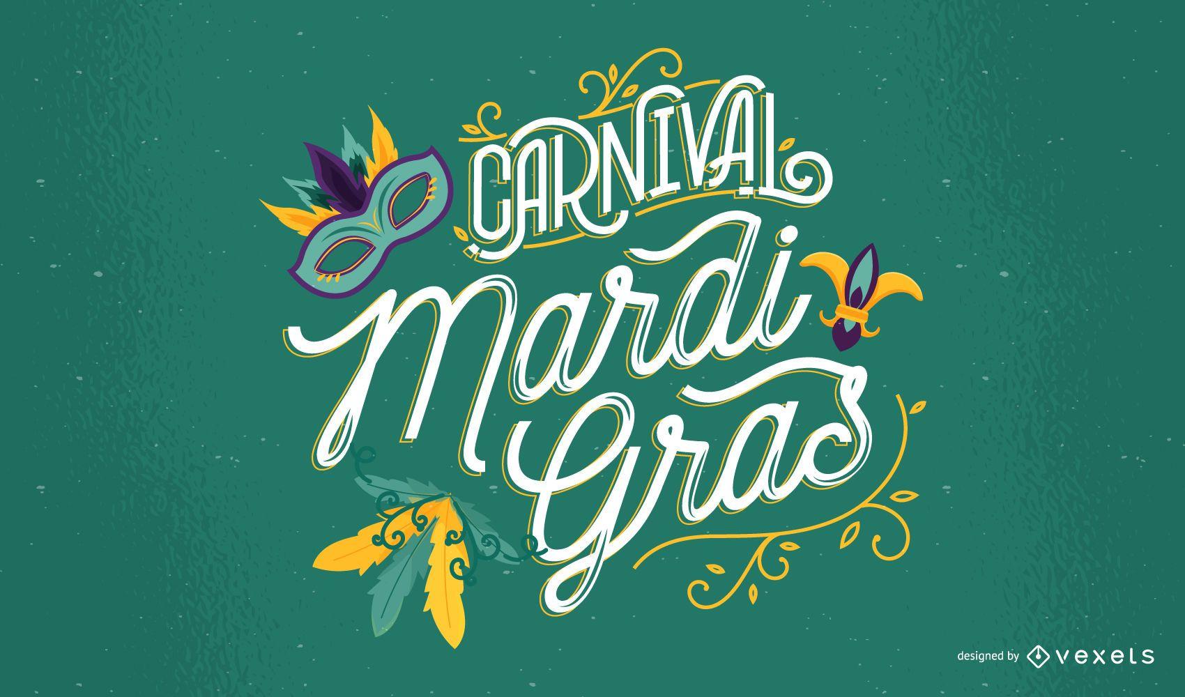 Diseño de letras de carnaval de Mardi Gras