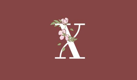 Modelo de logotipo letra x floral