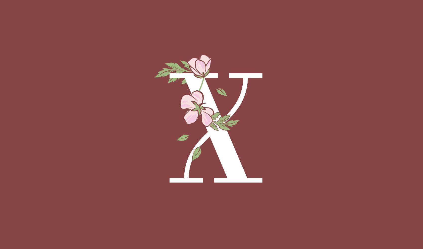 Plantilla de logotipo floral letra x
