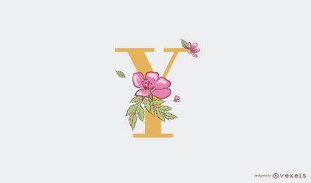 Plantilla de logotipo y letra floral