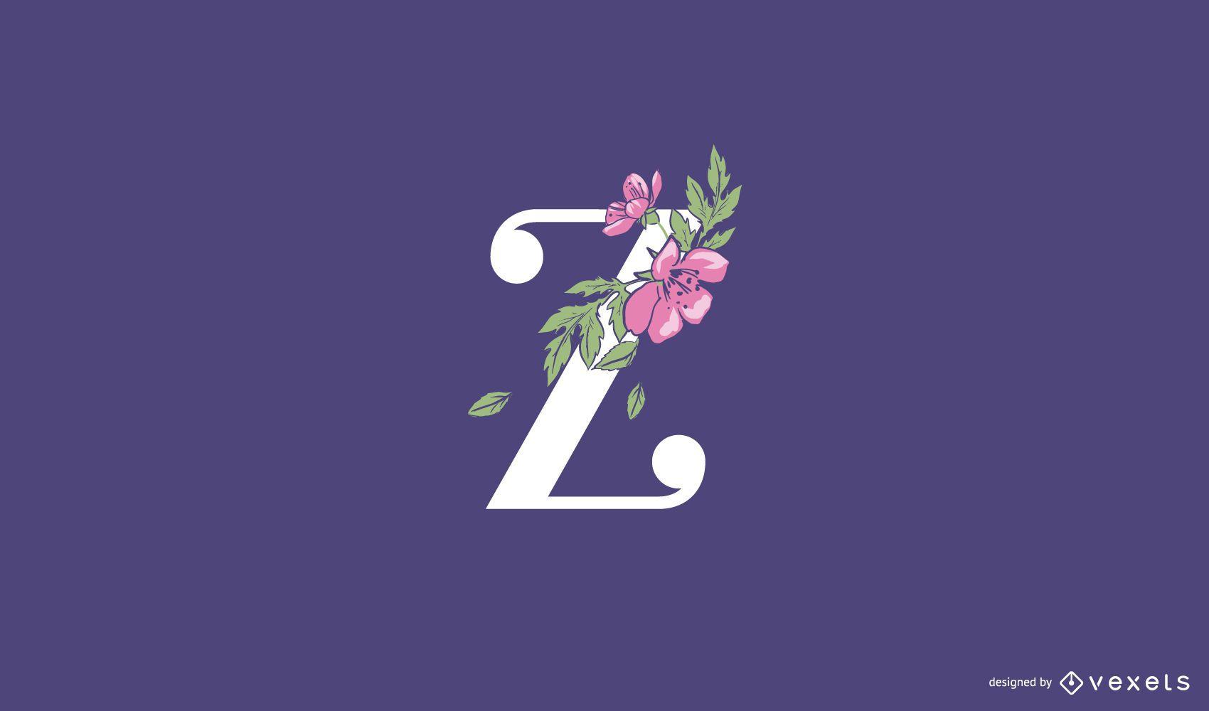 Floral letter z logo template