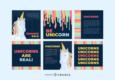 Colorful unicorn social media post set