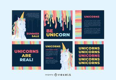 Conjunto de publicaciones de redes sociales de unicornio colorido