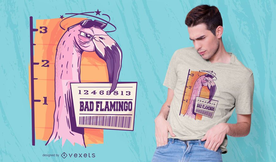 Diseño de camiseta Bad Flamingo