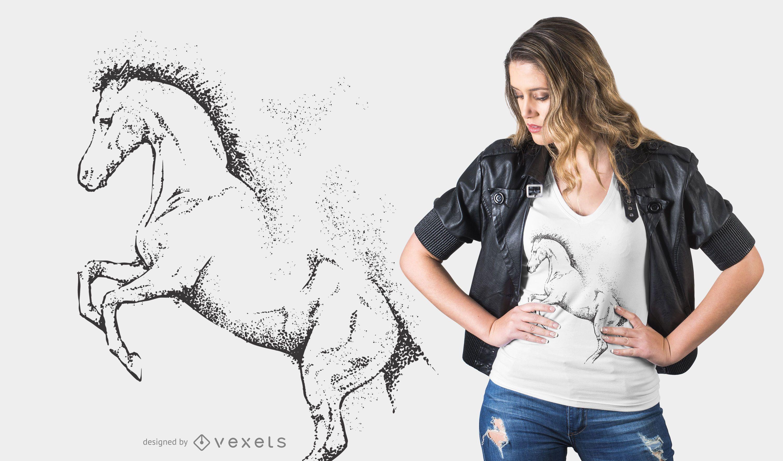 Diseño de camiseta de caballo punteado
