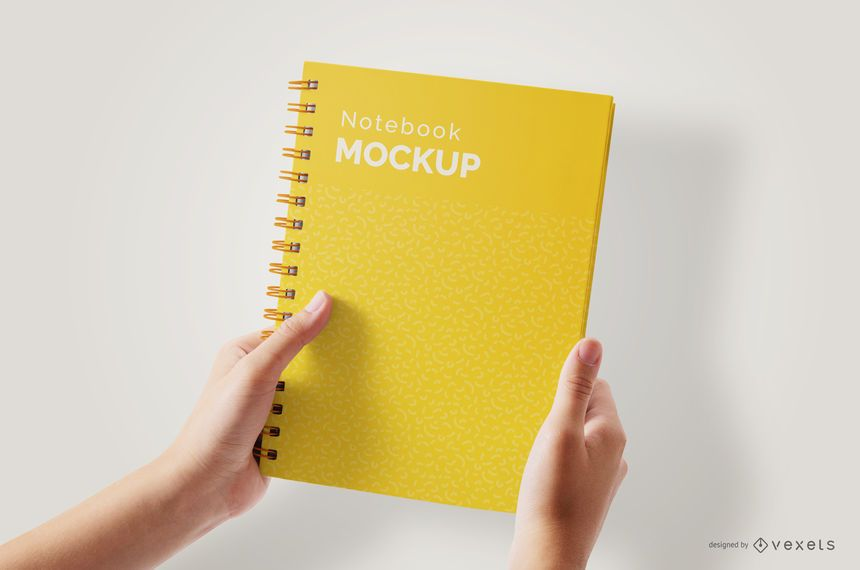 Hands Holding Notebook Psd Mockup