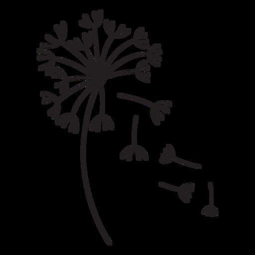 dandelion falling petals stroke Transparent PNG