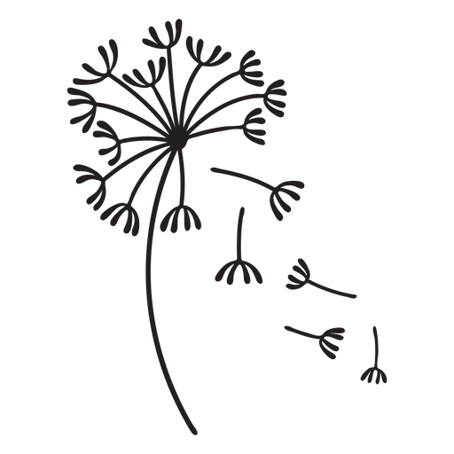 dandelion falling petals stroke