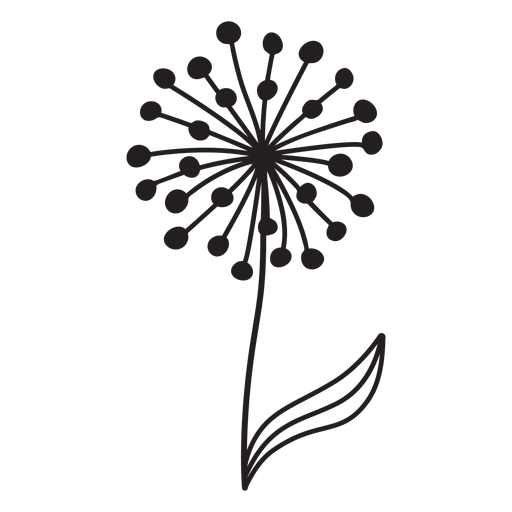 dandelion with leaf stroke