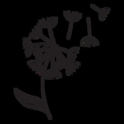 dente de leão pétalas com traço da folha