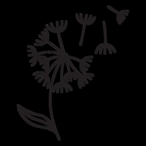 petals dandelion with leaf stroke