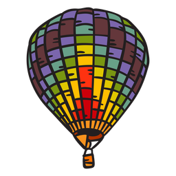 Hot air balloon hand drawn