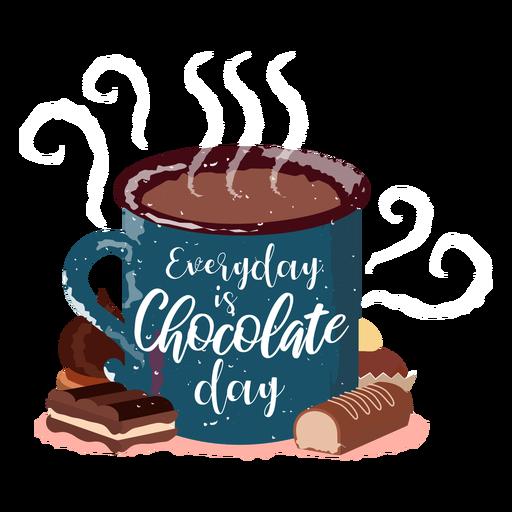 Chocolate quente desenhado à mão chocolate quente