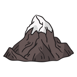 Icy mountain peak hand drawn